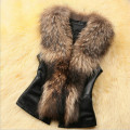 Fashion Women Sleeveless Faux Leather Faux Fur Collar Vest Jacket stitching Turn-down Faux fox fur Collar PU vest High quality