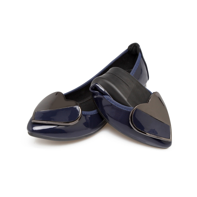 Luxury Brand 2018 Spring Women Fashion Pointed Toe Flats Ballerina Sliver Gold Blue Flat Designer Plus Size Ladies Boat Shoes