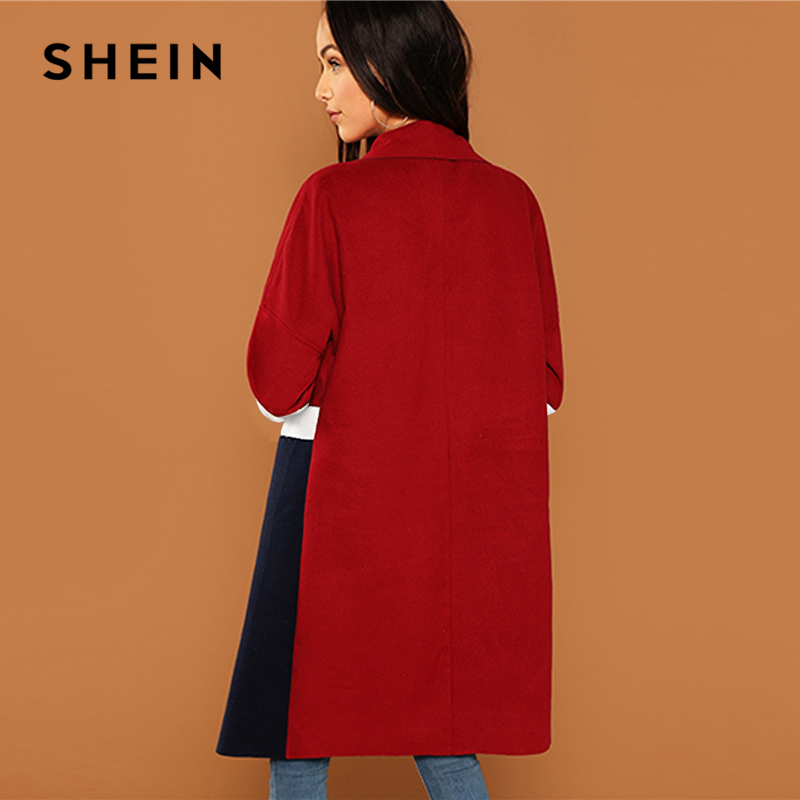 c59ef061c6 SHEIN Multicolor Waterfall Collar Color Block Coat Elegant Long Sleeve Knee  Length Outerwear Women Workwear Autumn Coats -in Wool & Blends from Women's  ...