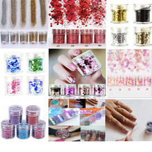 1box(10ml) Chunky Nail Dust 28 Mixed Colors Glitter Powder 3D Sequins Flake Art Manicure#