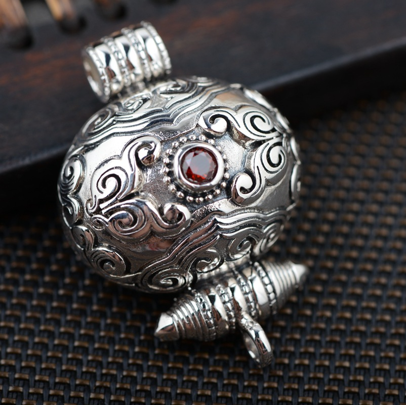 S925 silver pendant wholesale silver antique style Buddhist Shurangama mantra can open the evil spirits s925 silver antique style men open world peace ring