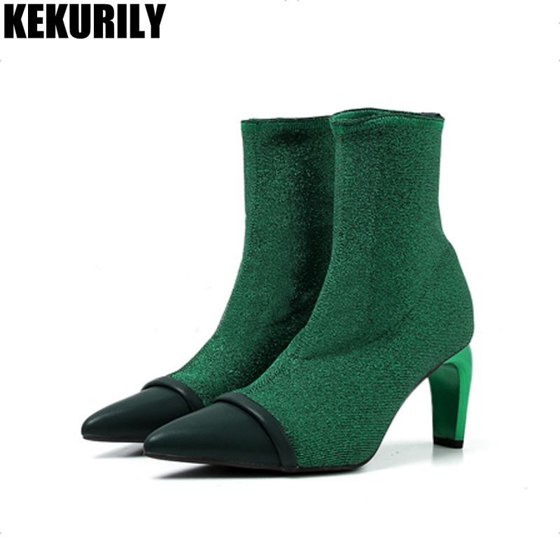 2fb9ab1db0e4 Mode Noir Dames Mujer Vert De Haute Chaussons Zapatos Chaussures Pompe Bout  Cheville Femmes Talon Patchwork Bottes vert Chaussette ...