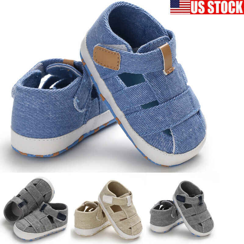 Fashion Baby Sandals Toddler Infant Hollow Soft Crib Sole Canvas Shoes Little Girls Boys Kids Soft Crib Prewalker Sandals Clogs