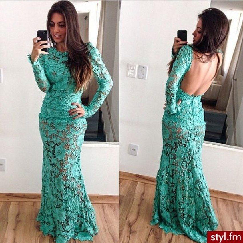Aliexpress.com : Buy High quality Trendy Hunter Green Lace Prom ...