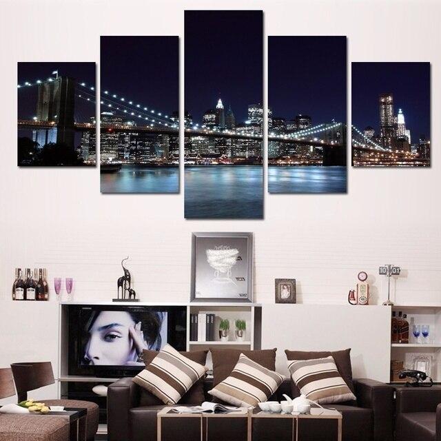 HD Print Night Sky City Lights Bridge 5 Pieces Bedroom Painting Wall Art  Home Decoration Canvas