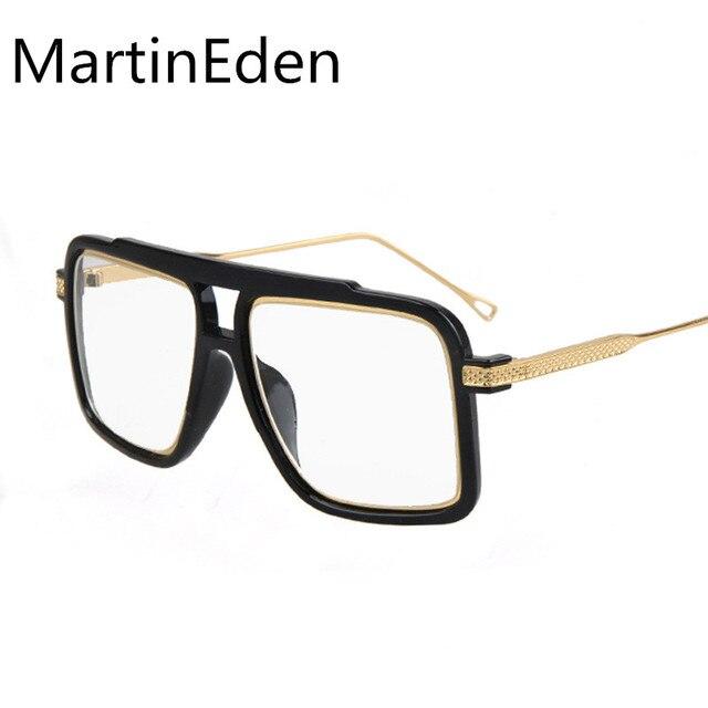 Gran marco de los vidrios hombres de las mujeres de oro cuadrados superiores planas moda gafas anteojos lentes ópticos gafas graduadas hombres