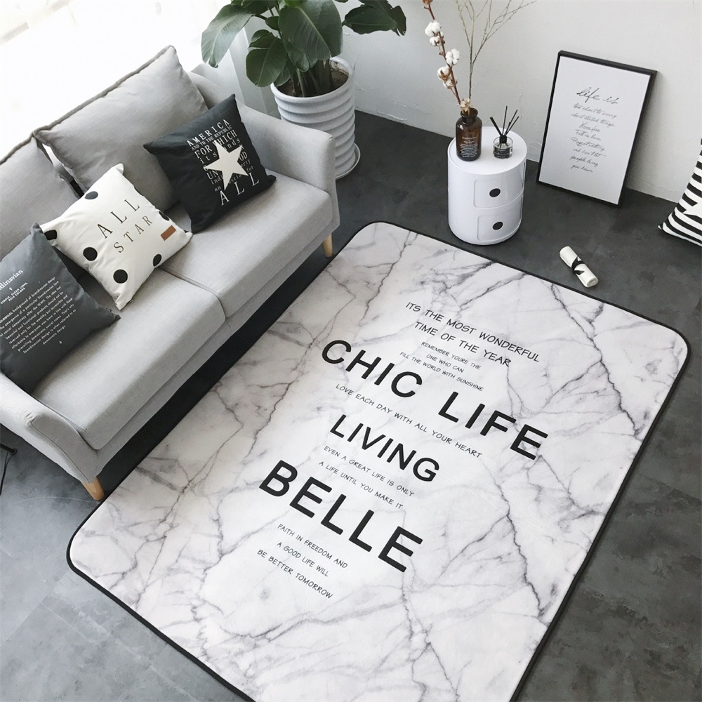 Fashion Marble-Like Living Room Bedroom Decorative Carpet Area Rug Bathroom Floor Door Yoga Baby Play Game Mat White Marbling