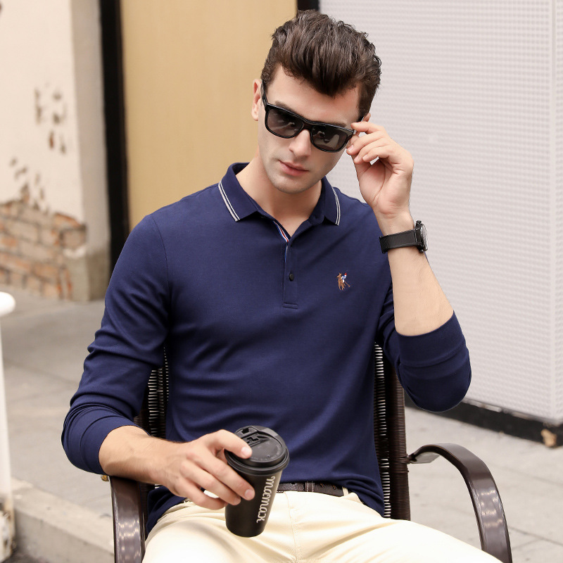 Hot sale new arrival autumn winter long sleeve   polo   shirt men solid business casual embroidery homme camisa plus size XXXL 8829