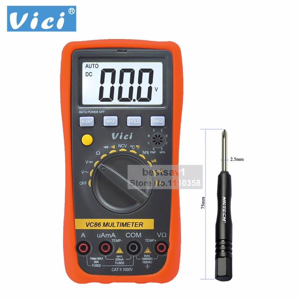 Vici VICHY VC86 Auto Range Digital Multimeter DMM Temperature Meter w/NCV hFE Test & LCD Backlight
