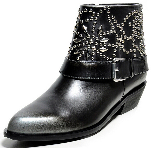 Europe and America Women Spring Autumn Low Heel Genuine Leather Buckle Pointed Toe Side Zip Ankle Martin Boots 34-39 SXQ0811 women spring autumn thick mid heel genuine leather pointed toe side zipper fashion mid calf martin boots size 34 39 sxq0818
