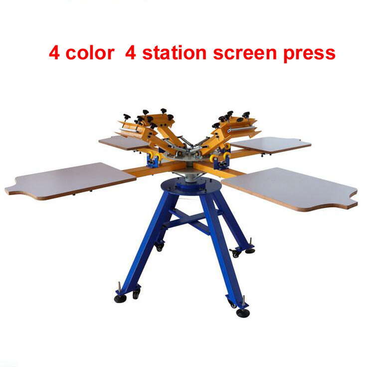 цена на Manual 4 color 4 station offset silk screen printing machine for T shirt printer equipment carousel