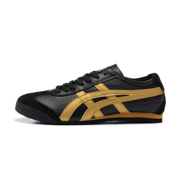 promo code c6c1e 46789 ONITSUKA TIGER Men's Shoes MEXICO 66 Black Gold Black White Leather Rubber  Anti-slippery Women Sneakers Badminton Shoes