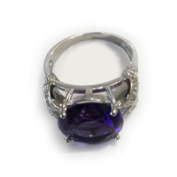 Wholesale Exquisite 94R1 8 Round Cut Amethyst White Sapphire 925 Silver Ring Size 8 Free Ship