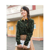 INMAN Autumn New Arrival Female Cotton Turn down Collar Embroidery Retro Literary Long Sleeve Shirt
