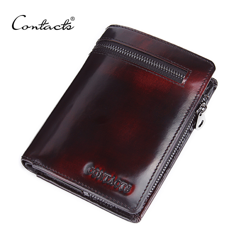 CONTACT'S Genuine Leather Wallet For Men Famous Brand Zipper Wallets Card Holder High Quality Purse Coin Bag Brush Handmade georgina goodman georgina goodman туфли женские lucy