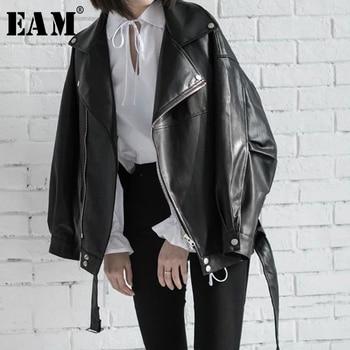 [EAM] haute qualité 2020 printemps cuir synthétique polyuréthane noir ample col rabattu fermeture éclair mode nouvelle veste sauvage pour femmes LA938 1