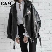 [EAM] wysokiej jakości 2020 wiosna czarny PU skóra luźne skręcić w dół kołnierz zamek moda nowa damska szeroka kurtka LA938