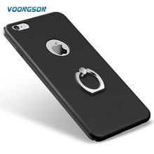 For iphone 5 6 6P 7 7P coroful sets of hard PC cases + ring shelf support, 4.7 inch 360 Degree Matt Plating Mobile Phone Cases