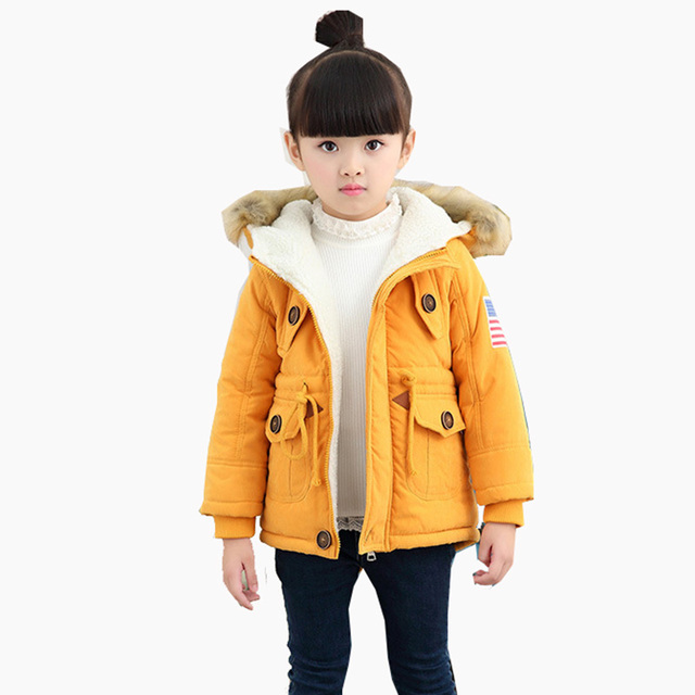 New 2018 Kids Girls Boys Winter Child Thick Warm Long Hooded Wadded Jacket Outerwear For Girls Boys  Fleece Cotton-Padded Coat