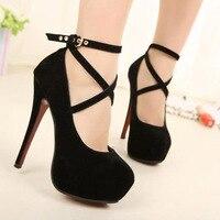 2018 Women Strappy High Thin Heels Pumps Sexy Women Dress Shoes Ladies Wedding Wear Low Cut Cross Buckle Black/Blue/Red