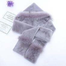 Women Winter Scarves Thicken Plush Faux Rabbit Fur Hooded Cap Hat Scarf Shawl Neck Warmer Shrugs Wool Neckerchief Long Wrap