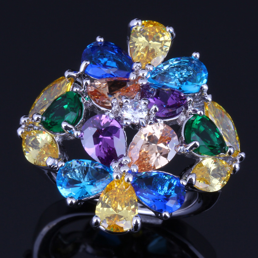 Remarkable Huge Multi Gem Multi Color Yellow Cubic Zirconia 925 Sterling Silver Ring For Women V0163 in Rings from Jewelry Accessories