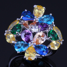 Remarkable Huge Multi-Gem Multi-Color Yellow Cubic Zirconia 925 Sterling Silver Ring For Women V0163