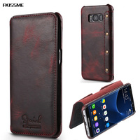 FKISSME Retro Rivet Handmade Real Genuine Leather Case For Samsung Galaxy S8 Wallet Flip Phone Case