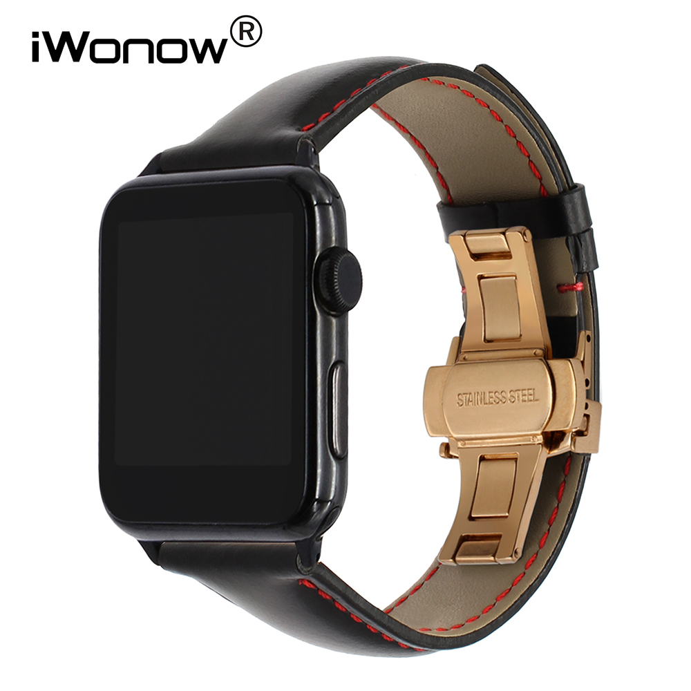Italian Calf Genuine Leather Watchband + Adapter for 38mm 42mm iWatch Apple Watch Series 1 2 3 Butterfly Buckle Band Wrist Strap