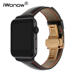 Italy Calf Genuine Leather Watchband for 38mm 40mm 42mm 44mm iWatch Apple Watch Series 1 2 3 4 Butterfly Buckle Band Wrist Strap