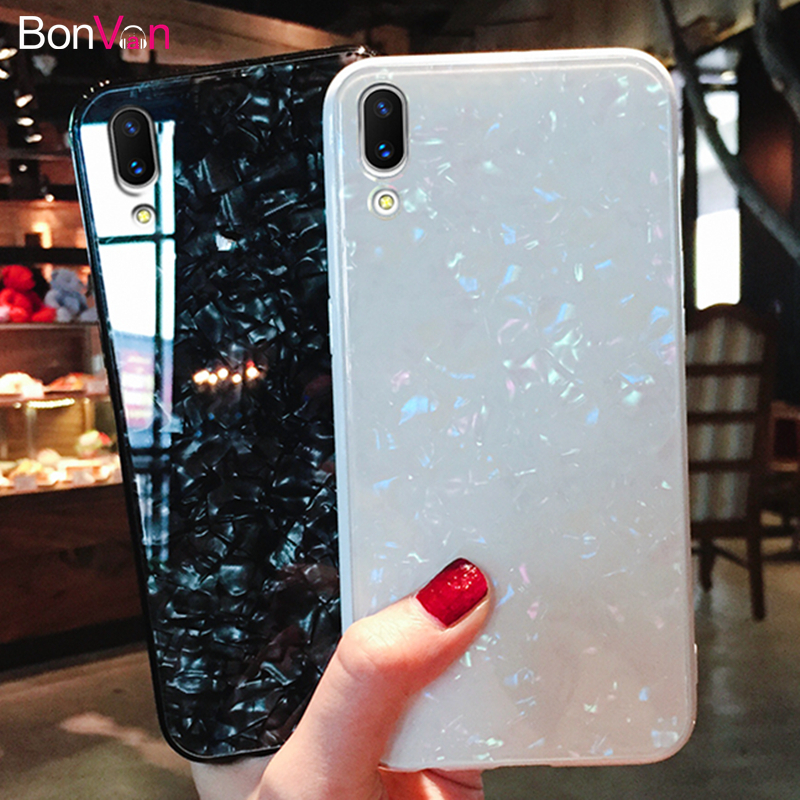 BONVAN Tempered Glass Case For Huawei P20 Pro p20 Dream Shell Glitter Hard Cover For Huawei P20 lite Soft Silicone Bumper Case