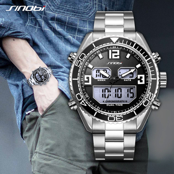 цена на SINOBI Men Watch Fashion Quartz Sports Watches Stainless Steel Mens Watches Top Brand Luxury Business Waterproof Wrist Watch Men