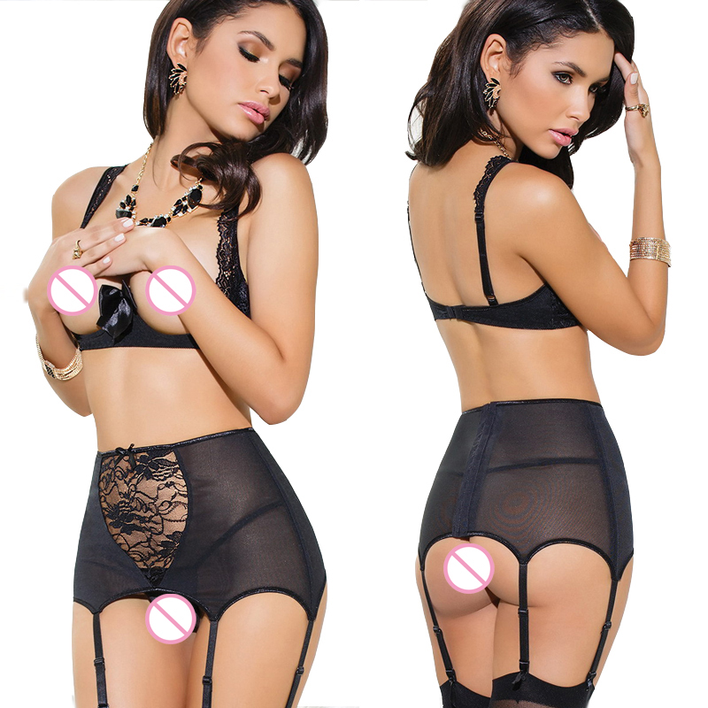 2017 New Garter Bow Women Black Lace Perspective Bandage Erotic Porn Sexy Lingerie Hot Sexy Underwear Exposed Bust Sexy Costumes