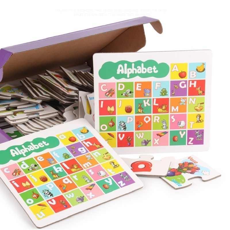 Фото Дети мультфильм алфавит головоломка малыш карты буквы совпадающая игра