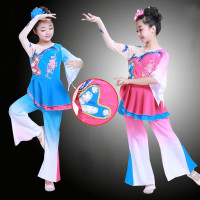 Child Chinese Traditional Folk Dance Costume Girls Fan Dance Clothing Kids Chinese Ancient National Umbrella Stage Dance Wear 89