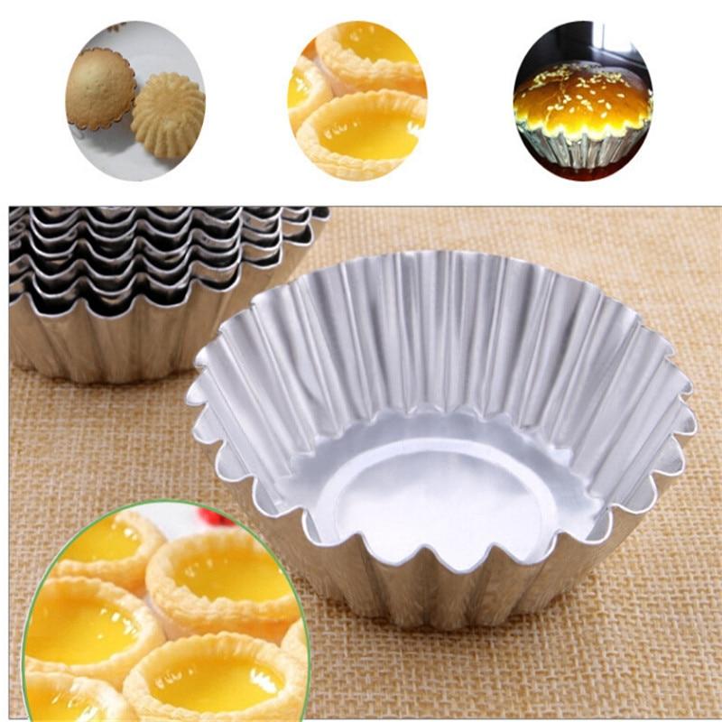 12 pcs Egg Tart Mold Reusable Lace Round Tartlet Moulds Baking Cup for Cafe Home