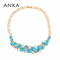 2016 New Arrival Women Choker Necklace Gold Filled Collier Genuine Crystals From SWAROVSKI Vintage Jewelry 117882