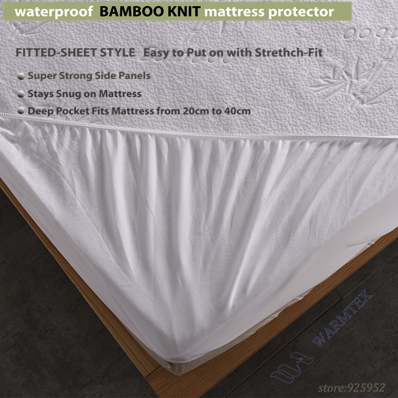 Online Super King Size 200x200cm Waterproof Bamboo Knit Jacquard Mattress Protector Cloth Cover 100 W014 Aliexpress