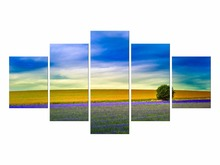5 Pieces Free Shipping Hot Sale Rushed Lavender Flowers Landscape Wall Painting Art Canvas For Living Room Pictures Framed