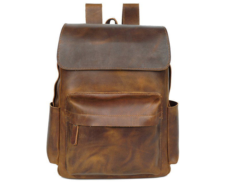 Enthusiastic Nesitu High Quality Vintage Brown Geunine Leather Men Backpacks 14 Laptop Crazy Horse Leather Man Backpack Travel Bags M8090 Backpacks Men's Bags