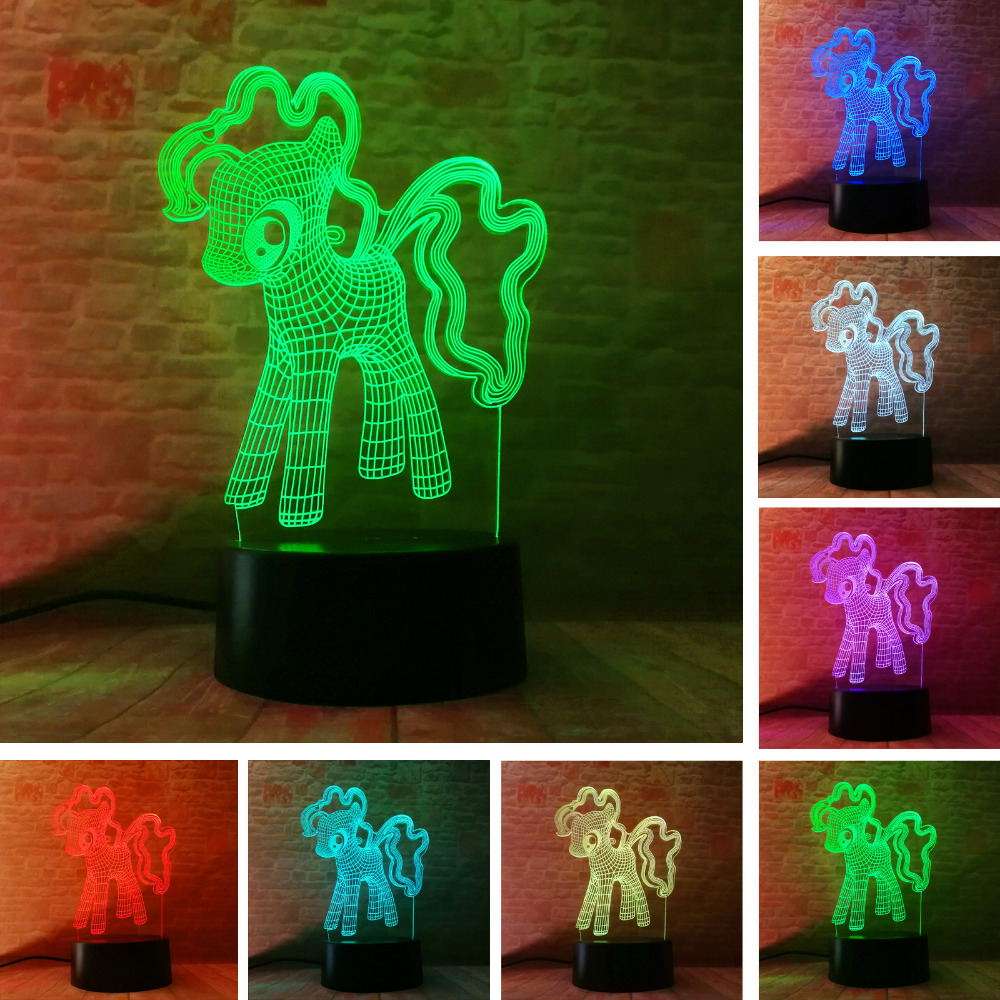 3D Creative My Little Pony Night Light Table LED 7t Colorful Gradient Child Baby Table Decor Friend Touch Sleeping Lamps Gifts bosch my friend mix 20