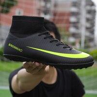 Homens botas de futebol botas de futebol botas longas picos tf spikes tornozelo alto tênis macio interior turf futsal sapatos de futebol masculino