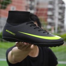 Männer Fußball Stiefel Fußball Stollen Stiefel Lange Spikes TF Spikes Ankle High Top Sneakers Weiche Indoor Turf Futsal Fußball Schuhe männer