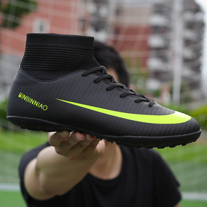 Image 1 - Men Football Boots Soccer Cleats Boots Long Spikes TF Spikes Ankle High Top Sneakers Soft Indoor Turf Futsal Soccer Shoes Men
