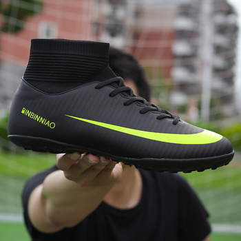 Men Football Boots Soccer Cleats Boots Long Spikes TF Spikes Ankle High Top Sneakers Soft Indoor Turf Futsal Soccer Shoes Men kelme professional futsal football boots soccer shoes original football cleats tf black sneakers men soccer futsals 871701