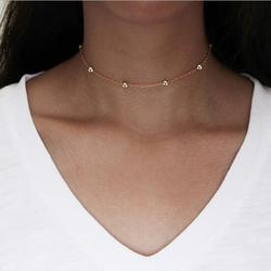 na089 Gothic punk Single layer copper beads chain Article necklace all women sexy metal alloy Clavicle necklace jewelry