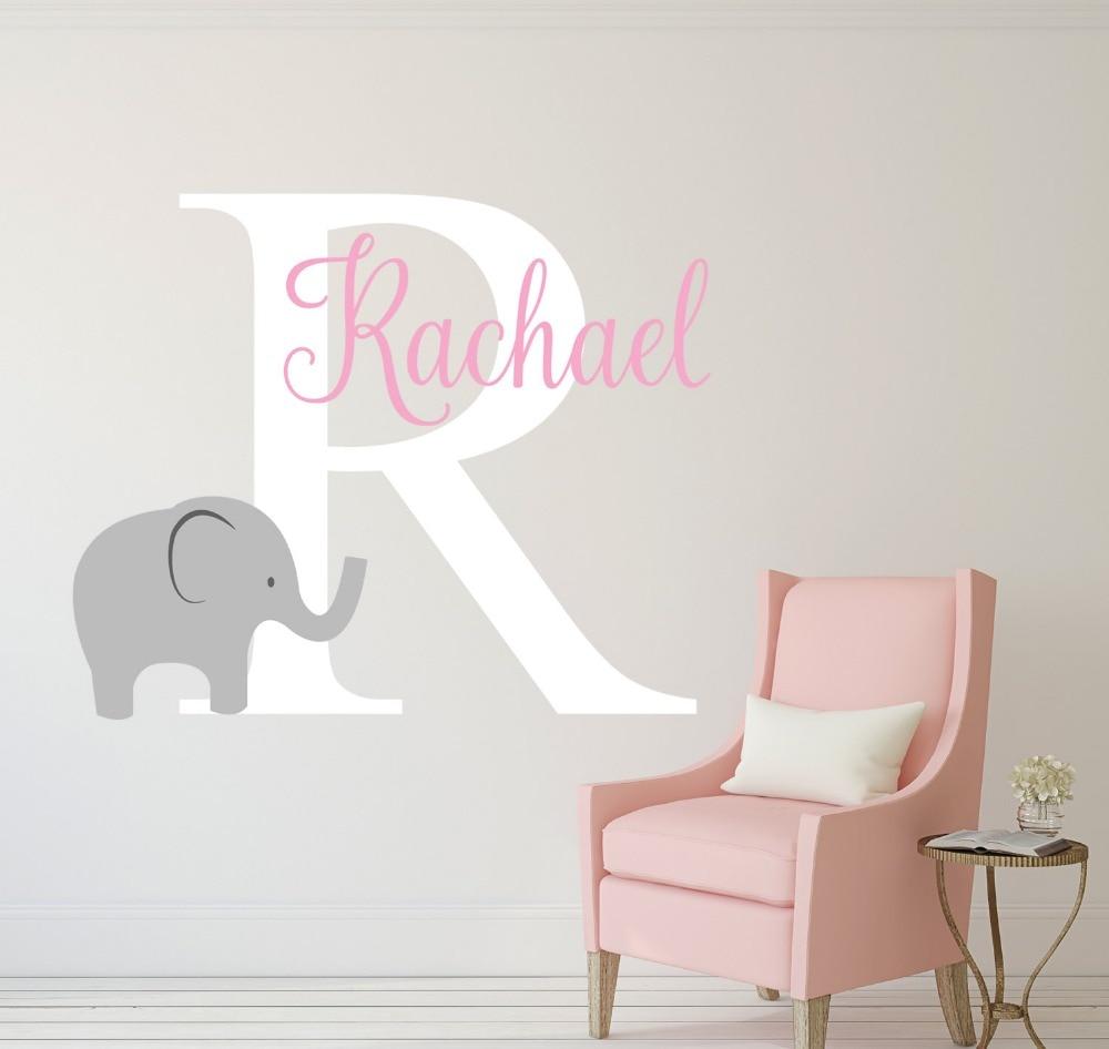 elephant name wall decal custom name baby wall decal girls name nursery wall - Baby Chair With Name