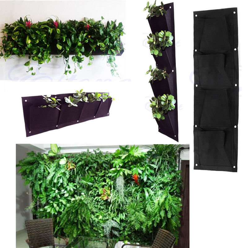 4Pocket Vertical Cross Greening Hanging Wall Storage Bags Garden Planting Bag Wall Planter Organizer 65x26.5 cm