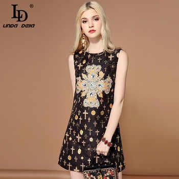 LD LINDA DELLA Fashion Runway Summer Dress Women\'s Sleeveless Tank Luxury Crystal Diamonds Jacquard Vintage Black Short Dress
