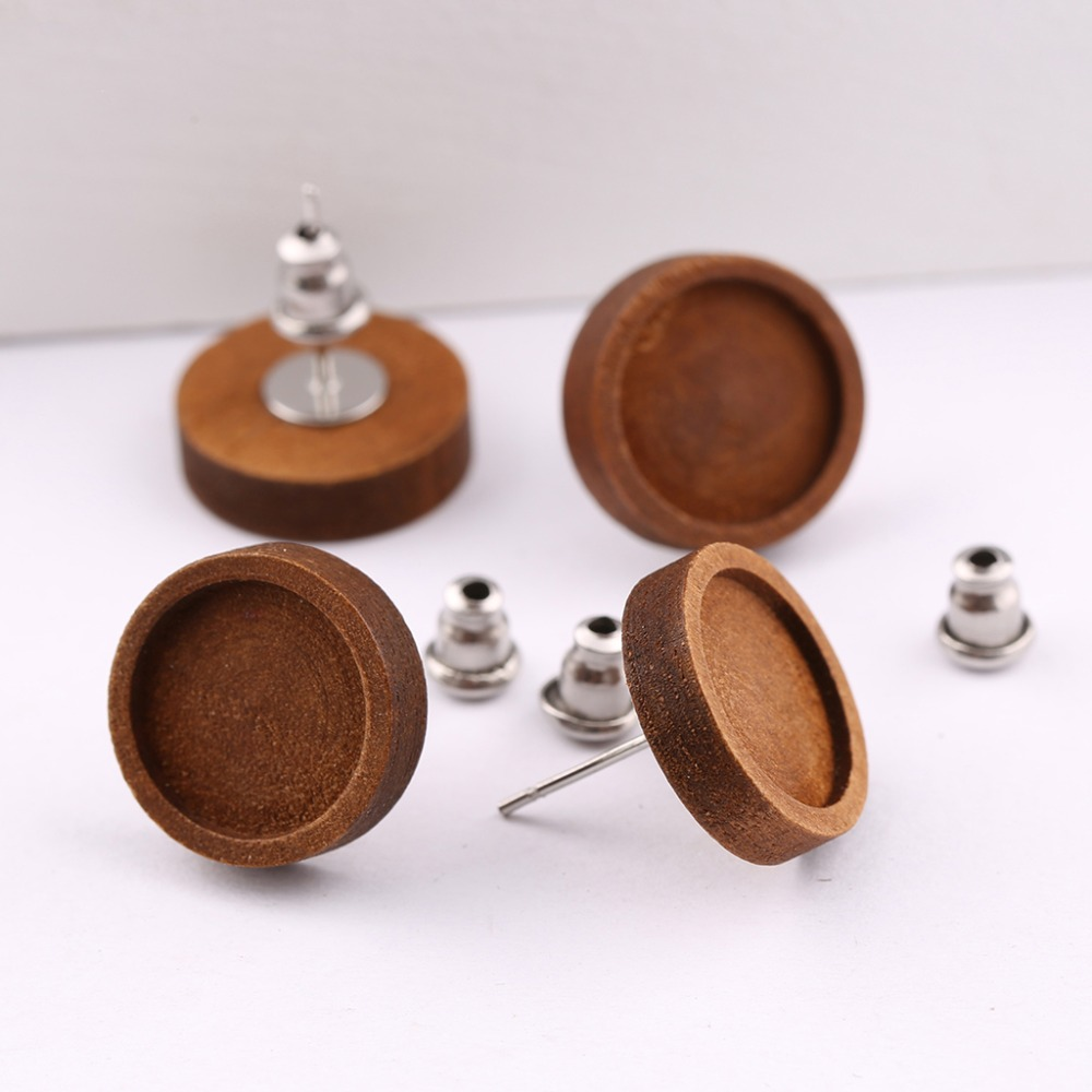 reidgaller 10pairs 12mm wood cabochon stud earring base settings diy blank stainless steel post earrings findings